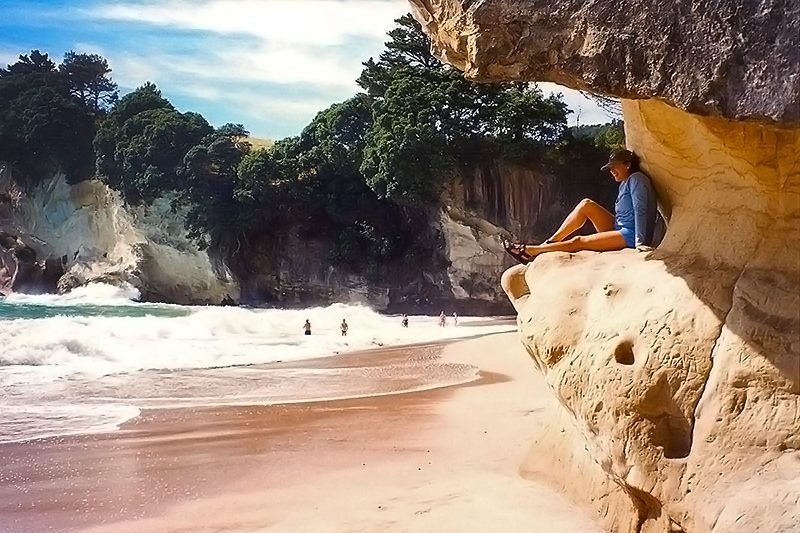 Sandstone Shelter, Cathedral Cove, New Zealand © Black Sheep Touring Co.