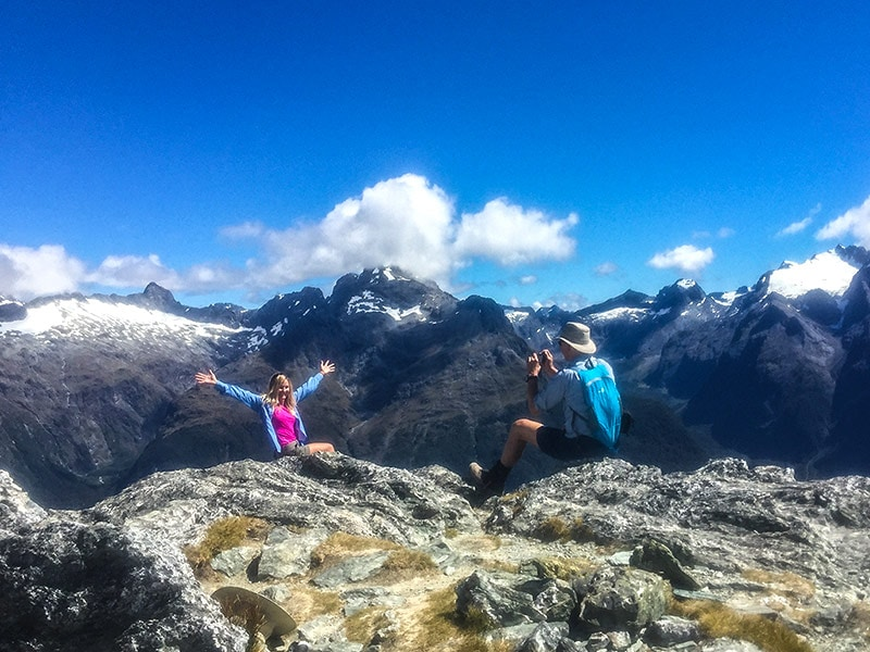 Feeling on top of the world on one of New Zealand's Great Walks, the Routeburn Track © Black Sheep Touring Co.