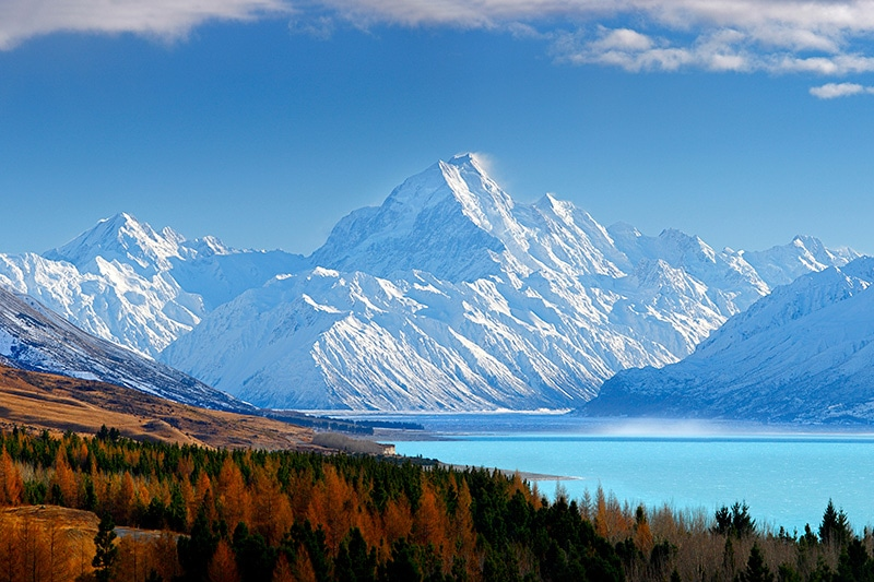 The view of Aoraki Mt Cook is highlight on a New Zealand self drive tour