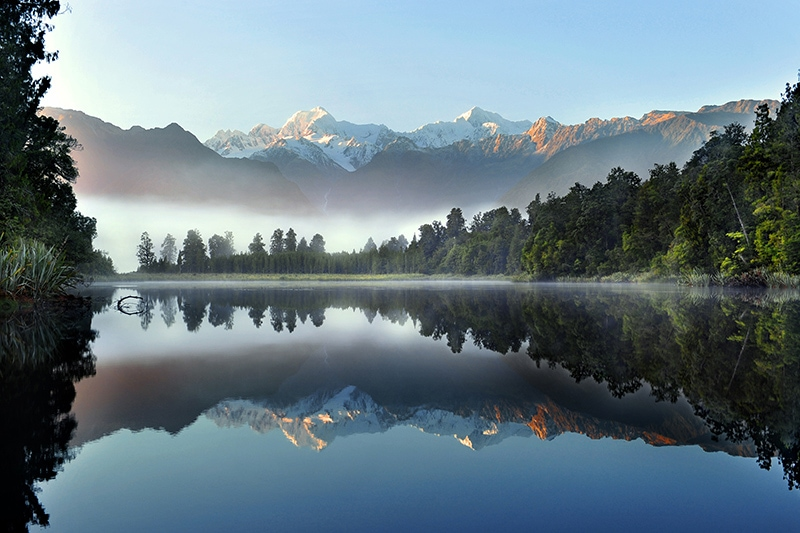View of Mt Cook from Lake Matheson on a Black Sheep self drive tour