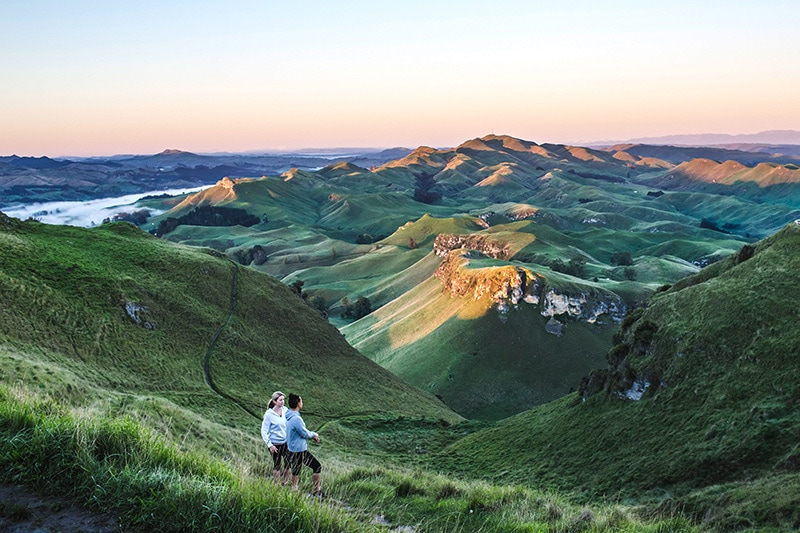 View from Te Mata Peak overlooking Havelock North and Napier, Hawke's Bay
